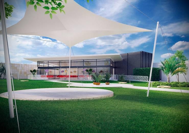 Salón de Fiestas La Paz. Diseño de velarias en el jardín: Salones para eventos de estilo  por Soy Arquitectura