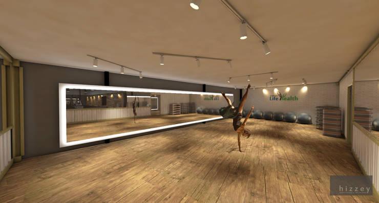 Sala de Ginástica: Edifícios comerciais  por Hizzey Arquitetura e Interiores,