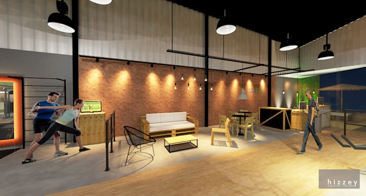 Recepção/Vendas/Lounge/Alongamento: Espaços comerciais  por Hizzey Arquitetura e Interiores,
