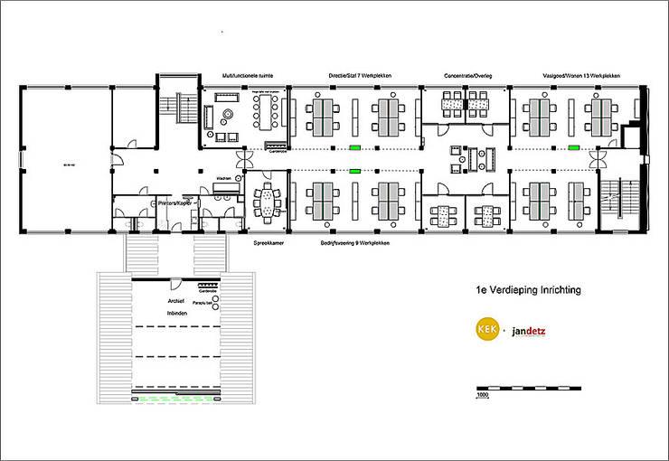 Plattegrond, indeling van de ruimte, ongeveer 400 m2.:   door Jan Detz Interieurarchitect
