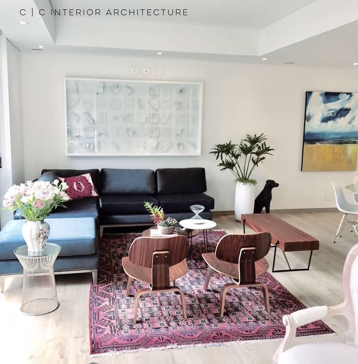 APARTAMENTO ROSALES | Residencial: Salas de estilo  por C | C INTERIOR ARCHITECTURE