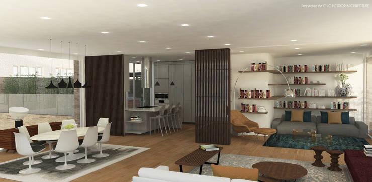 APARTAMENTO VALENBO | Residencial: Salas de estilo moderno por C | C INTERIOR ARCHITECTURE
