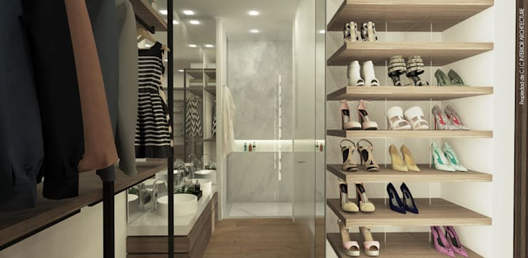 APARTAMENTO VALENBO | Residencial: Vestidores de estilo moderno por C | C INTERIOR ARCHITECTURE