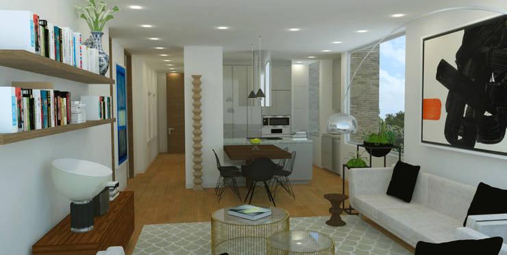 APARTAMENTO VALENBO II | Residencial: Salas de estilo  por C | C INTERIOR ARCHITECTURE