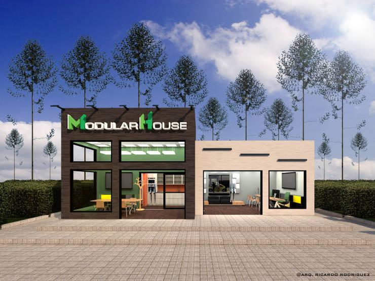 Vista Frontal: Oficinas y Tiendas de estilo  por RR Arquitecto