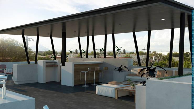 terraza en losa de azotea: Terrazas de estilo  por planeacion y proyectos constructivos s.a de c.v.