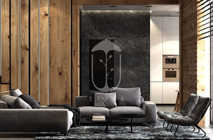 Salas de estilo rural de U-Style design studio Rural Concreto