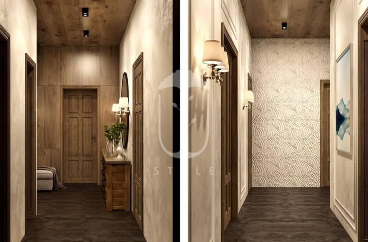 Pasillos, vestíbulos y escaleras de estilo rural de U-Style design studio Rural Madera Acabado en madera