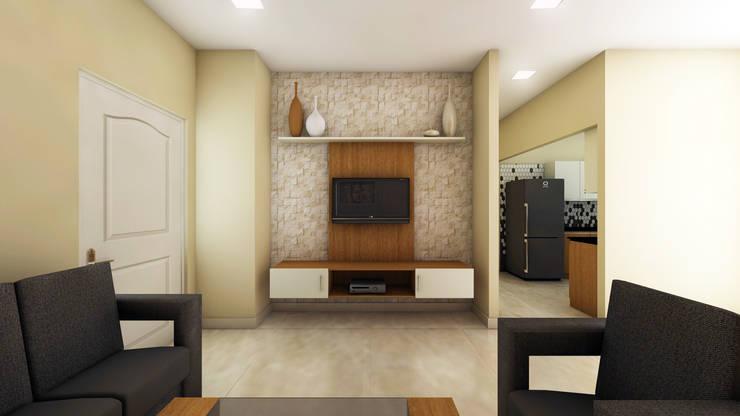 SHOBA DREAM ACRES—BANGALORE: minimalistic Living room by Vsquare Interiordesigns Pvt Ltd