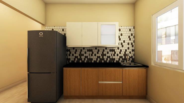 SHOBA DREAM ACRES—BANGALORE: minimalistic Kitchen by Vsquare Interiordesigns Pvt Ltd