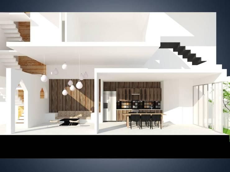 Phối cảnh mặt cắt phòng khách chờ và phòng ăn + bếp.:   by Cat-Studio