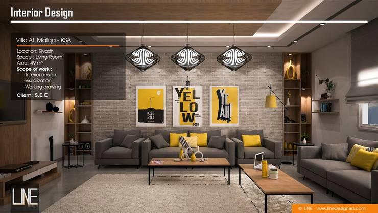 Villa Al Malqa:  غرفة المعيشة تنفيذ Line Designers,