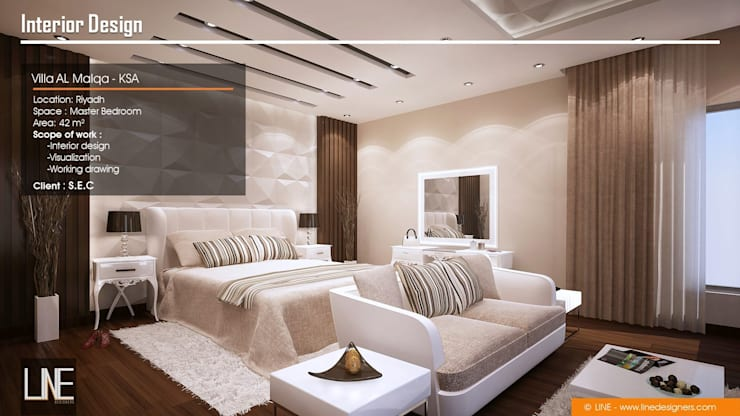 Villa Al Malqa:  غرفة نوم تنفيذ Line Designers,