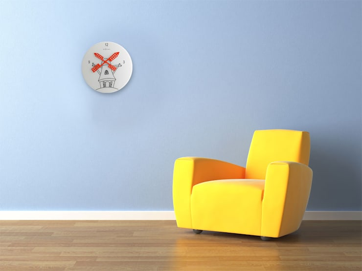 Nextime Windmill Wall Clock:  Living room by Just For Clocks,