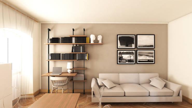 Vista frontale della nuova libreria con scrittoio integrato: Soggiorno in stile  di smellof.DESIGN