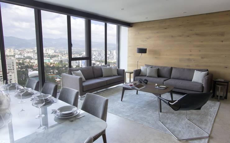 Departamento ZW: Salas de estilo moderno por Concepto Taller de Arquitectura