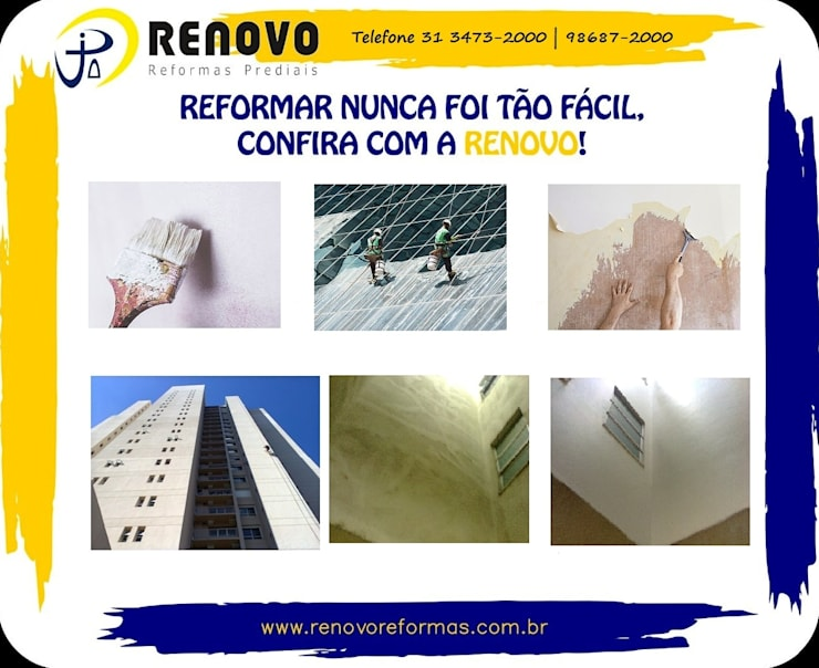 Projekty,  Szpitale zaprojektowane przez Renovo Reformas Retrofit Fachada 3473-2000 em Belo Horizonte, Klasyczny Ceramiczny
