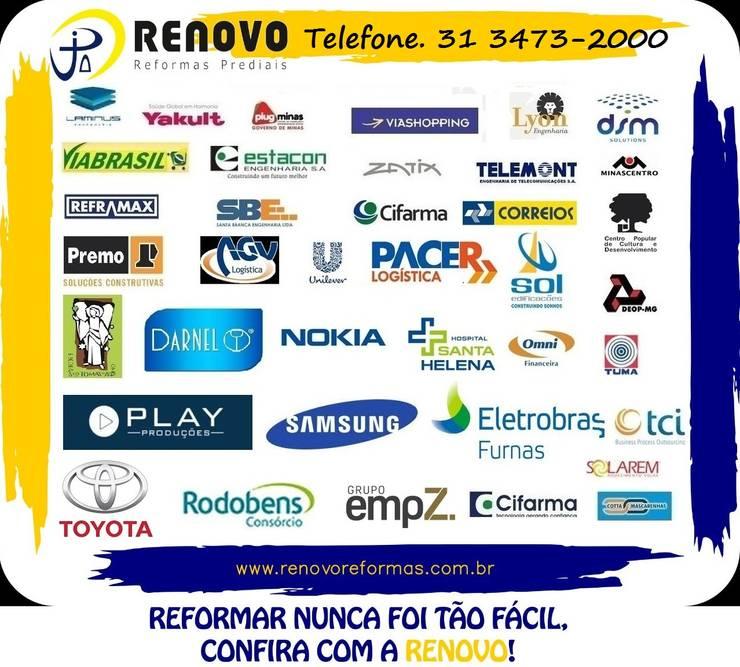 Projekty,  Hotele zaprojektowane przez Renovo Reformas Retrofit Fachada 3473-2000 em Belo Horizonte, Klasyczny Deski kompozytowe Przeźroczysty