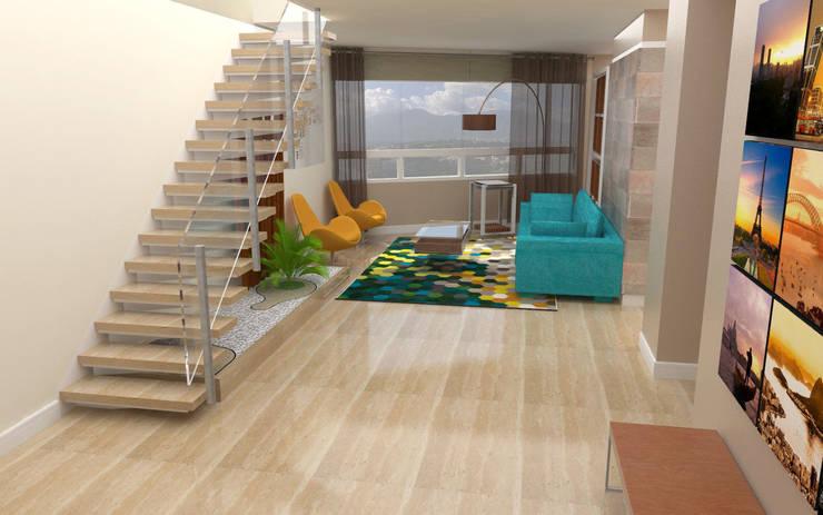 PH 513: Salas / recibidores de estilo  por TRIBU ESTUDIO CREATIVO
