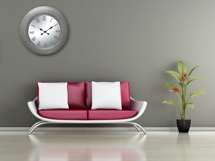 Kairos PU Wall Clock Tile Pattern Silver Rim:  Living room by Just For Clocks
