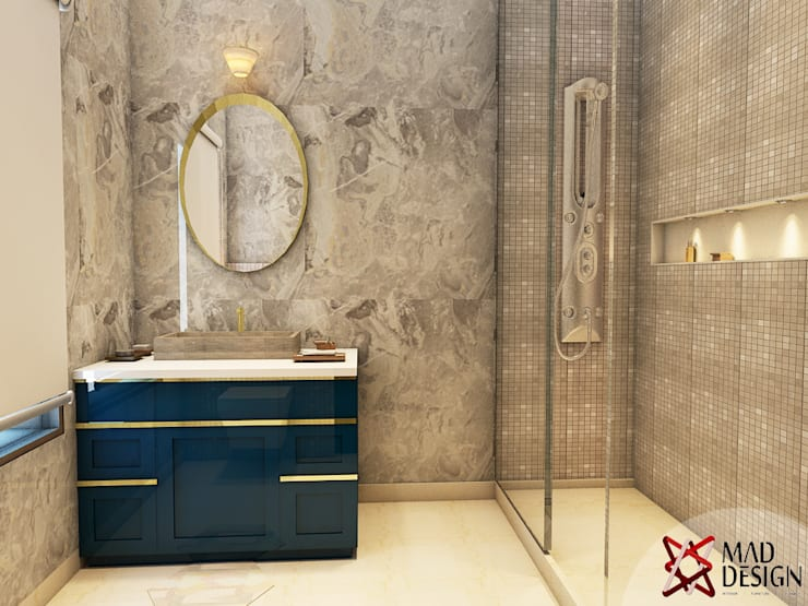 WASHROOM - VIEW 1:  Bathroom by MAD DESIGN