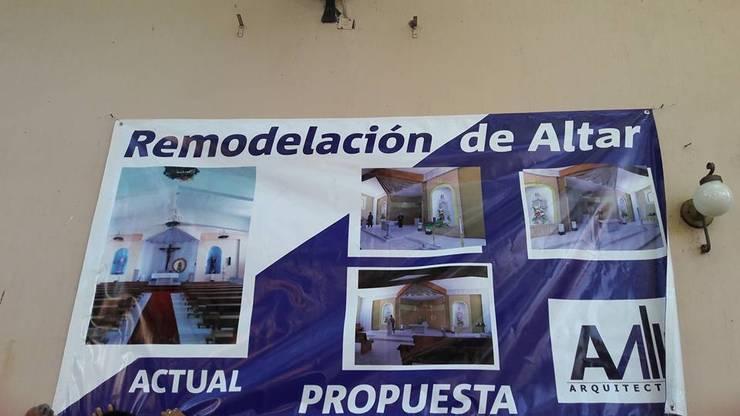 REMODELACION ALTAR JACONA, MICHOACAN, JALISCO: Paredes de estilo  por AZUL MARINO ARQUITECTOS