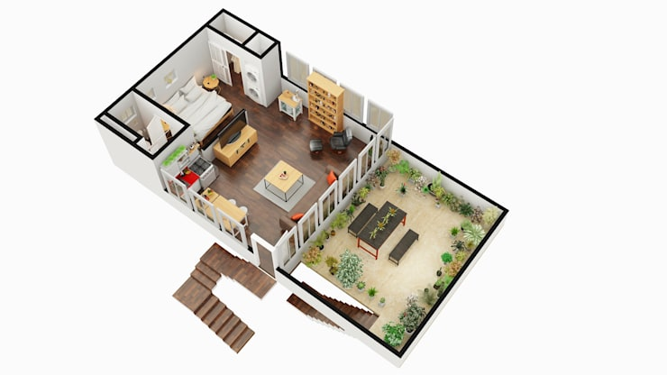 3D FLOOR PLAN WITHOUT HDRI MAP:   by Rayvat Rendering Studio