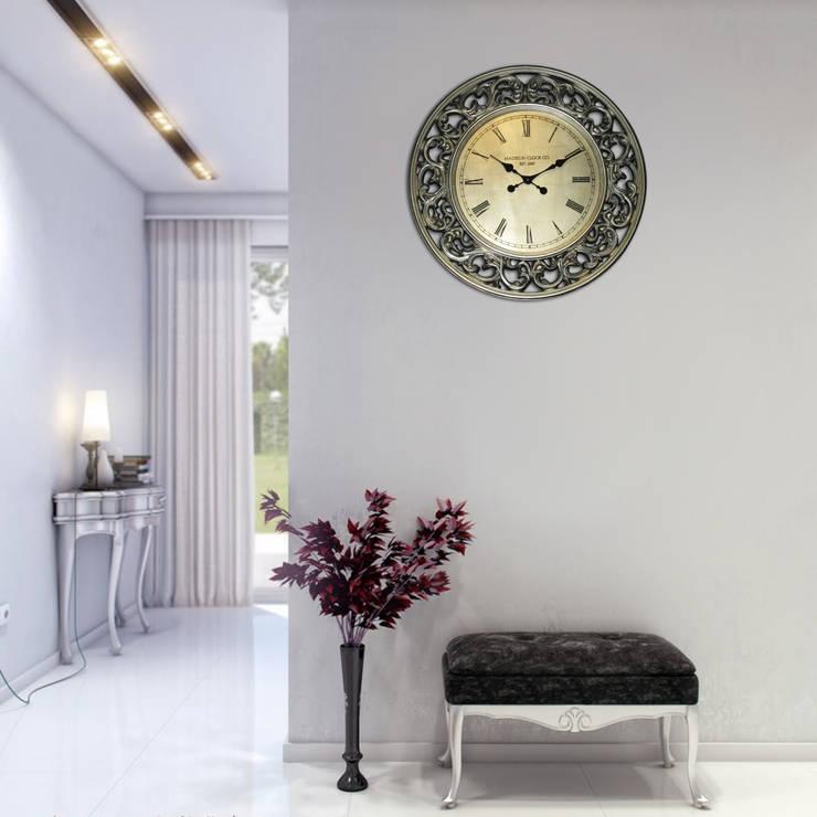 Kairos PU Ornament Rim Wall Clock:  Living room by Just For Clocks