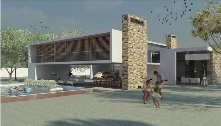 VIVIENDA MARTINEZ-BARBERA: Casas de estilo  por Goldbrick arquitectura,