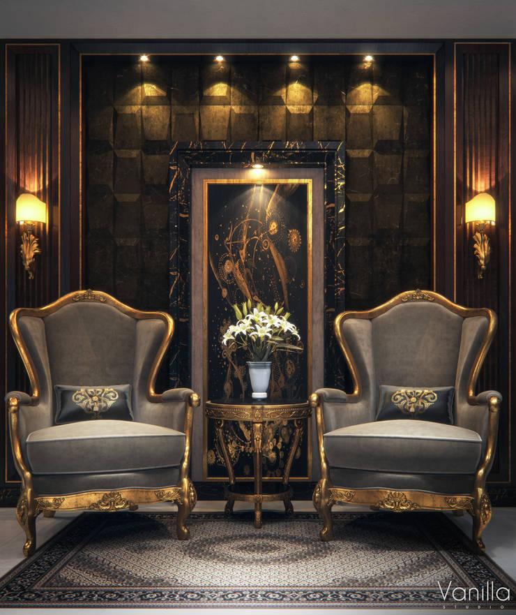 Luxurious Interior New Cairo:  Living room by Vanilla Studio