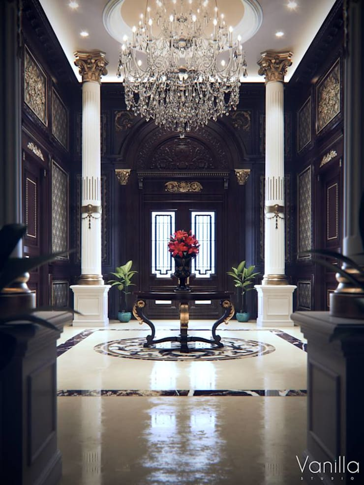 Luxurious Interior New Cairo:  Corridor & hallway by Vanilla Studio