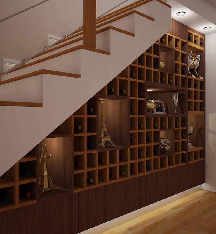 Cava bajo escalera: Bodegas de vino de estilo clásico por Spacio5