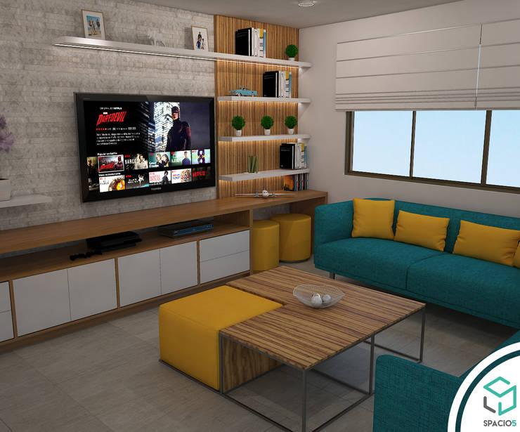 Sala de Televisión en Terraza: Terrazas de estilo  por Spacio5