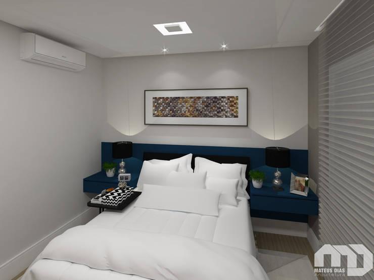 Suíte |Apartamento MG|: Quartos  por Mateus Dias Arquitetura
