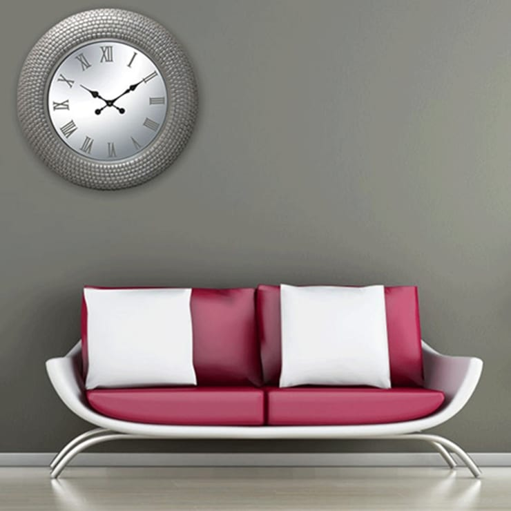 Kairos PU Tile Pattern Champagne Rim Wall Clock:  Living room by Just For Clocks