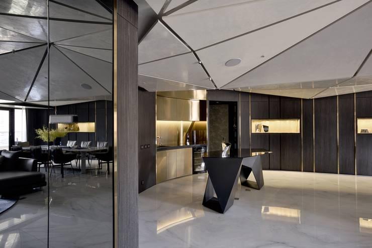 Projekty,  Salon zaprojektowane przez 行一建築 _ Yuan Architects