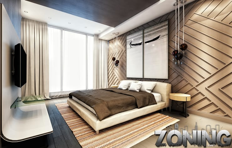 Master Bedroom Modern style bedroom by Zoning Architects Modern Wood Wood effect