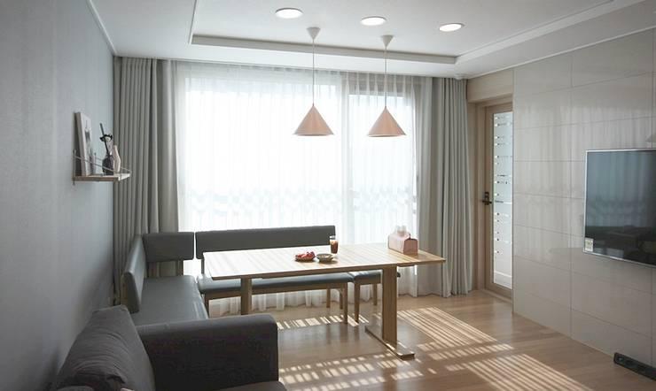 핑크 포인트 새아파트 신혼집 홈스타일링: homelatte의  다이닝 룸
