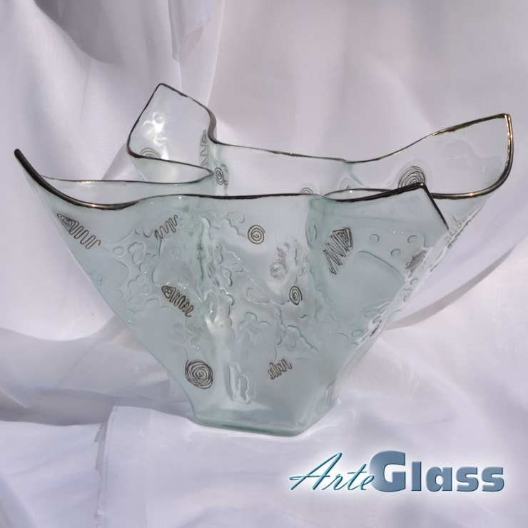Vase clear with metal and oldplatinum 25 cm:  Living room by ArteGlass