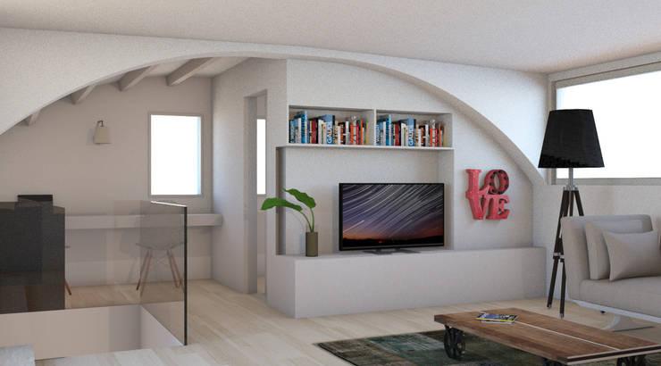 Mansarda: Soggiorno in stile in stile Moderno di Bartolucci Architetti