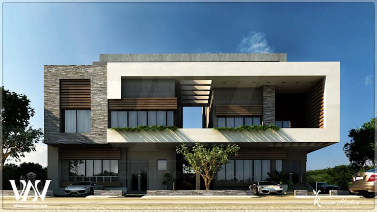 Villa exterior with Light modern style:  Household by VAVarchitecture