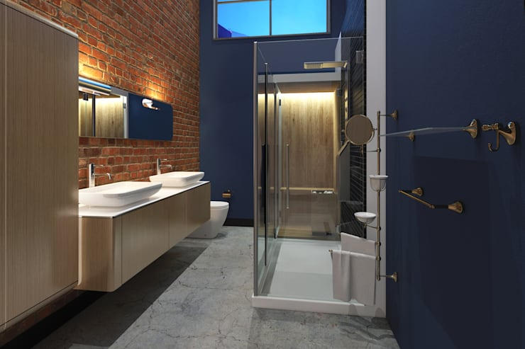 Industrial style apartment:  Bathroom by AT The Studio