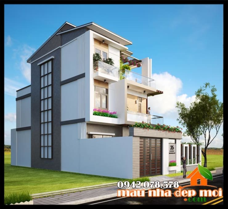 Màu sắc trang trí sắc sảo, đường nét nỗi bật, xinh xắn:  Biệt thự by Công ty TNHH TKXD Nhà Đẹp Mới