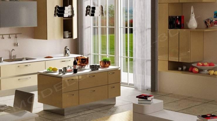 Cucina moderna con isola von Modellazione-3d.it | homify