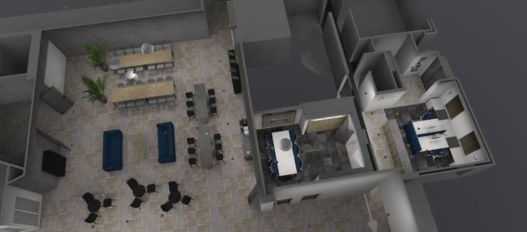 Verbouw hoofdkantoor aannemersbedrijf:  Kantoor- & winkelruimten door AP-Interieurarchitect
