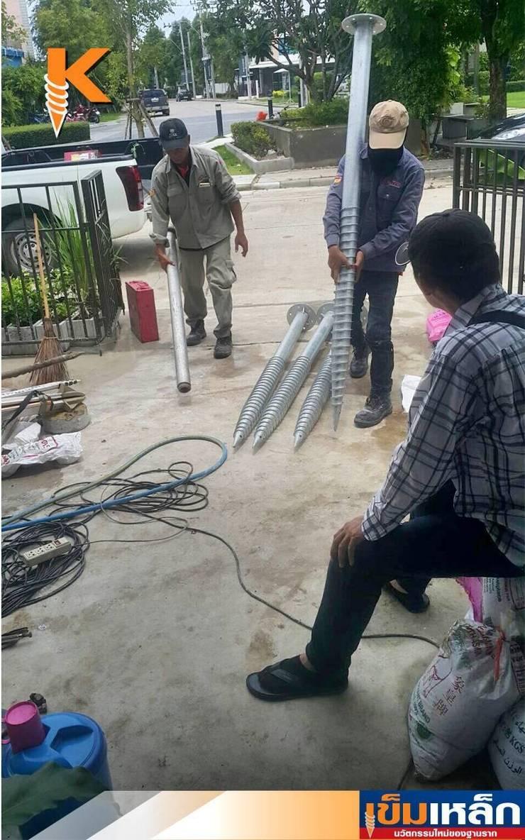 เข็มเหล็กฐานรากโครงหลังคาหน้าบ้าน คุณศราวุธ:   by บริษัทเข็มเหล็ก จำกัด
