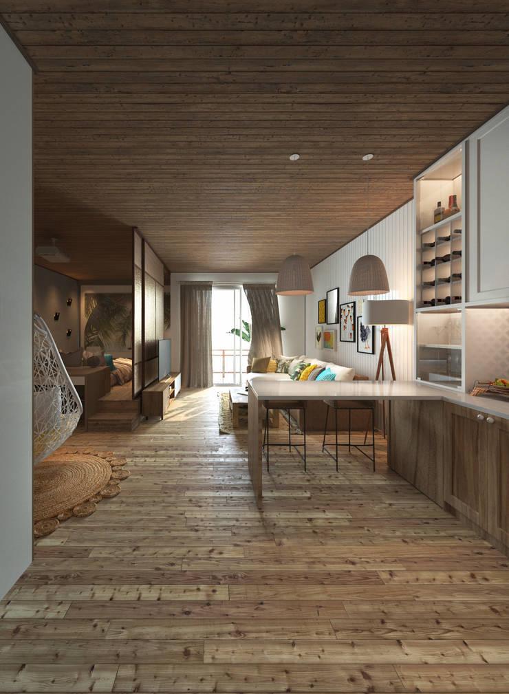 Căn hộ Galaxy 9:  Nhà bếp by BROS.studio
