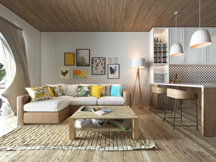 Căn hộ Galaxy 9:  Phòng khách by BROS.studio