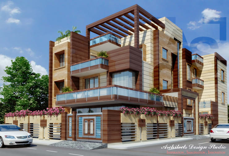 External Facade for Residence in Noida:  Bungalows by Architects Design Studio  Architects and Interior Designers in Delhi