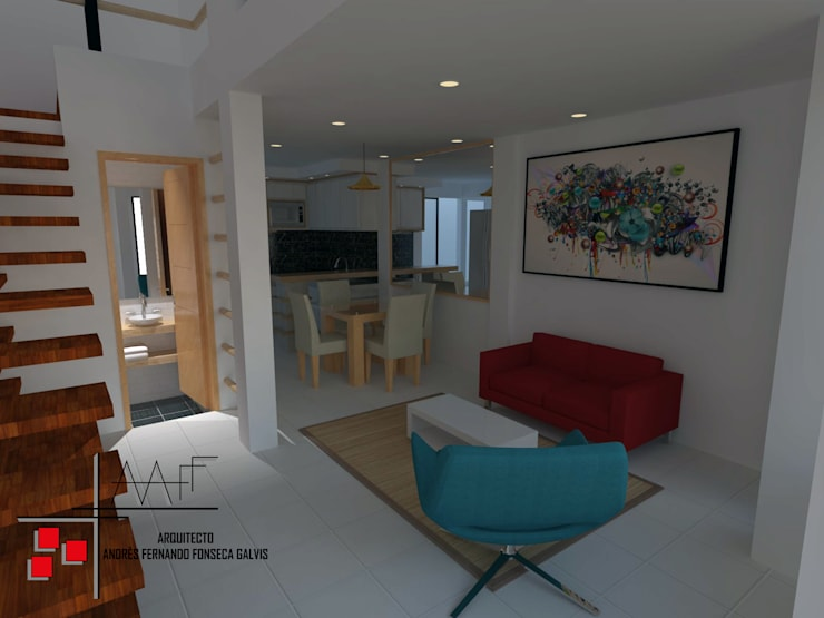 Proyecto Casa Ospina: Salas de estilo  por Arquitecto Andrés Fonseca, Moderno